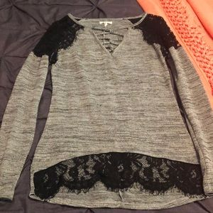 Gray and black lacy sweater top
